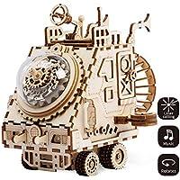 LHYP 3D木製パズル ギア 手作り オルゴール オルゴール メカニカルモデルキット 子供または大人向け 誕生日/子供の日/イースターへのプレゼントに最適 (宇宙船)