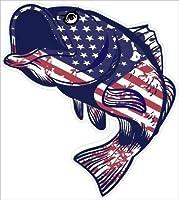 Bass愛国アメリカ国旗釣りビニールステッカーデカール