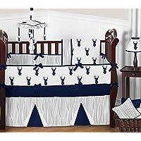 Sweet Jojo Designs 9-Piece Navy Blue White and Gray Woodland Deer Print Crib Baby Bedding Set with Bumper for a Newborn Boy [並行輸入品]