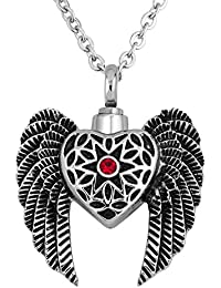 luckyjewelry Angel Wings Urn個人鋼火葬灰ネックレス記念withレッドクリスタル