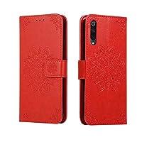 財布型 カバー for Xiaomi Mi 9,Hllycr スタンドfor Xiaomi Mi 9 手帳型 ケース カバー スマホ ケース スタンド機能 - Red