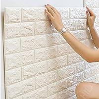 【Hilax】 3D壁紙パネル 3Dウォールステッカー (厚手タイプ) 立体自己粘着シール ホワイトレンガ調 70cm×77cm DIY (② 10枚セット)