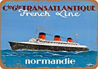 French Line Normandie ティンサイン ポスター ン サイン プレート ブリキ看板 ホーム バーために