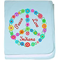 CafePress – Peace Love Indiana – スーパーソフトベビー毛布、新生児おくるみ ブルー 053415046625CD2