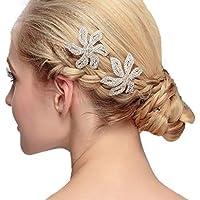Reiko 1 Pcs Hair Clips Wedding Hair Pins Bridal Headpiece Rhinestones Flower Hair Accessories for Bride Bridesmaid- Great for Bridesmaid Prom,Bridal Shower,Bachelorette Party