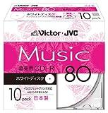 Victor 音楽用CD-R 80分 ホワイトプリンタブル 10枚 日本製 CD-A80PR10