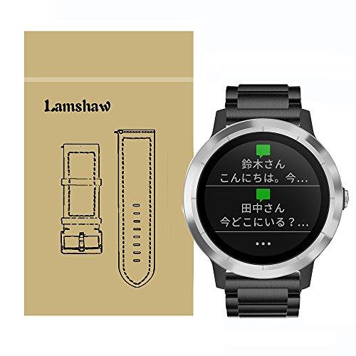 Lamshaw バンド 対応 Garmin vivoactive 3, ステンレス メタル 高品質 ベルト 交換バンド 対応 ガーミン スマートウォッチ 活動量計 vivoactive3 / vivomove HR (ブラック)