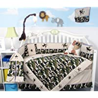 SoHo Boy Camouflage Army Baby Crib Nursery Bedding Set 13 pcs included Diaper Bag with Changing Pad & Bottle Case by SoHo Designs