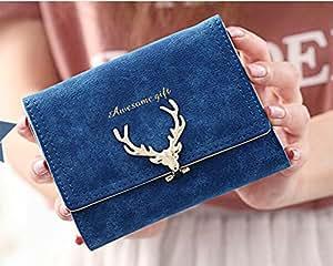 candy88レディー短財布 可愛い PUレザー 二つ折り クラッチバッグ 財布 大容量ミニウォレット小銭入れ  ガールズ カードがたくさん入る 5色選択可 (ダークブルー)