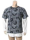 (ビーアンドティークラブ) B&T CLUB 大きいサイズ メンズ アンサンブル バンダナ総柄 クルーネック 半袖 Tシャツ ミニワッフル クルーネック 長袖 Tシャツ ブラック / X1