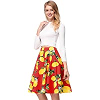 Honeystore Women's A-Line Pleated Vintage Skirt Floral Print Casual Flared Skirts