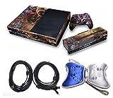 XBOX ONE( リーグ・オブ・レジェンズ )League Of Legendsスキンシール(本体+Kinectセンサー+コントローラ)+充電&データ転送ダブルコア付き MicroUSBケーブル 5.0m+ コントローラ保護ケース(2个 ブラック/ ブラック)セット (シルバー+ブルー)