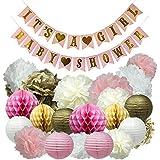 Oh Girls ベビーシャワーパーティーデコレーション 女の子用バナー! ピンク、クリーム、ホワイト、ゴールド。 プレミアム品質 – ペーパーランタン、ペーパーハニーコームボール、ペーパーポンポン – 24ピース装飾アクセサリー合計。