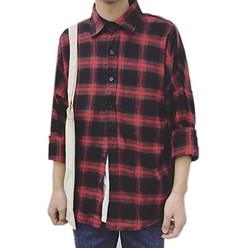 (シャンディニー) Chandeny カジュアル チェック柄 シャツ メンズ 長袖 レトロ トップス ネルシャツ アメカジ 14640 レッド L サイズ