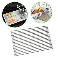 Suntaディッシュ乾燥ラックroll-up Dish Drainer Rack Bonus Dish Scrubber Multipurpose Square Rods乾燥ラックover theシンクキッチン グレー