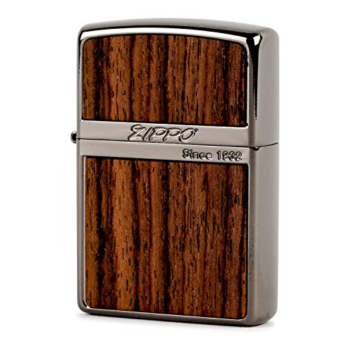 ZIPPO(ジッポー) ライター ブラック ウッド プレート貼り 両面エッチング ライトブラウン
