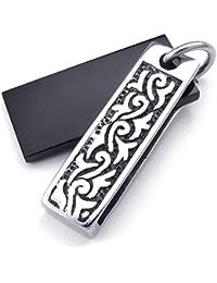 [テメゴ ジュエリー]TEMEGO Jewelry メンズキュービックジルコニアステンレススチールヴィンテージペンダント刻印鋳物ネックレス、ブラックシルバー[インポート]