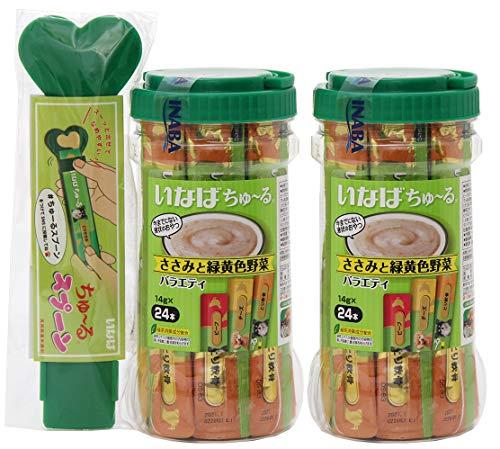 いなば 犬用 ちゅ~る ささみと緑黄色野菜 バラエティ (ビーフ チーズ とり軟骨) 14g×24本入 (ボトル×2) ちゅ~るスプーン付