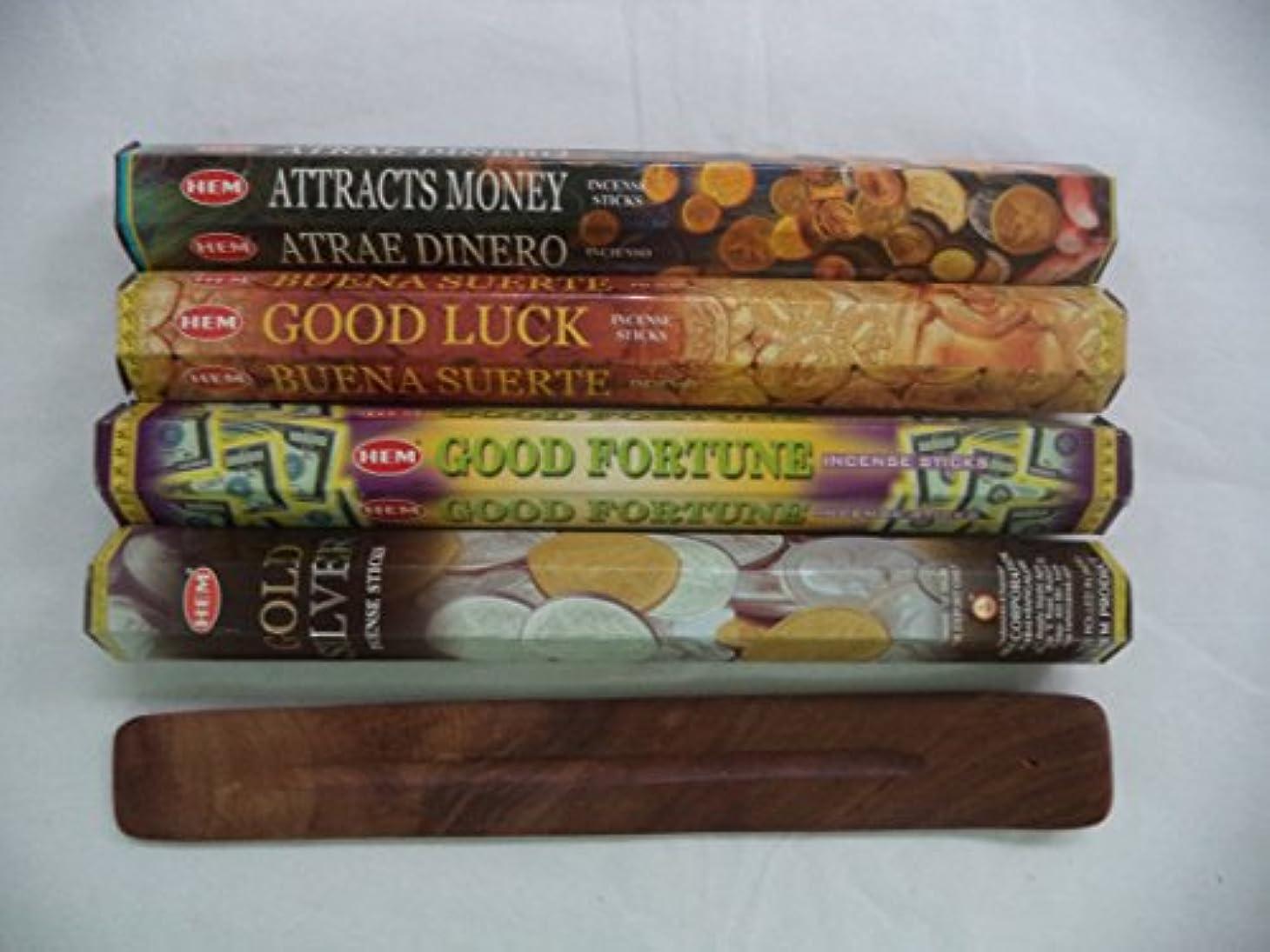 季節緑見る人Hemお香スティックattracts money good luck good fortuneゴールドシルバー= 80 Sticks + Burner 。