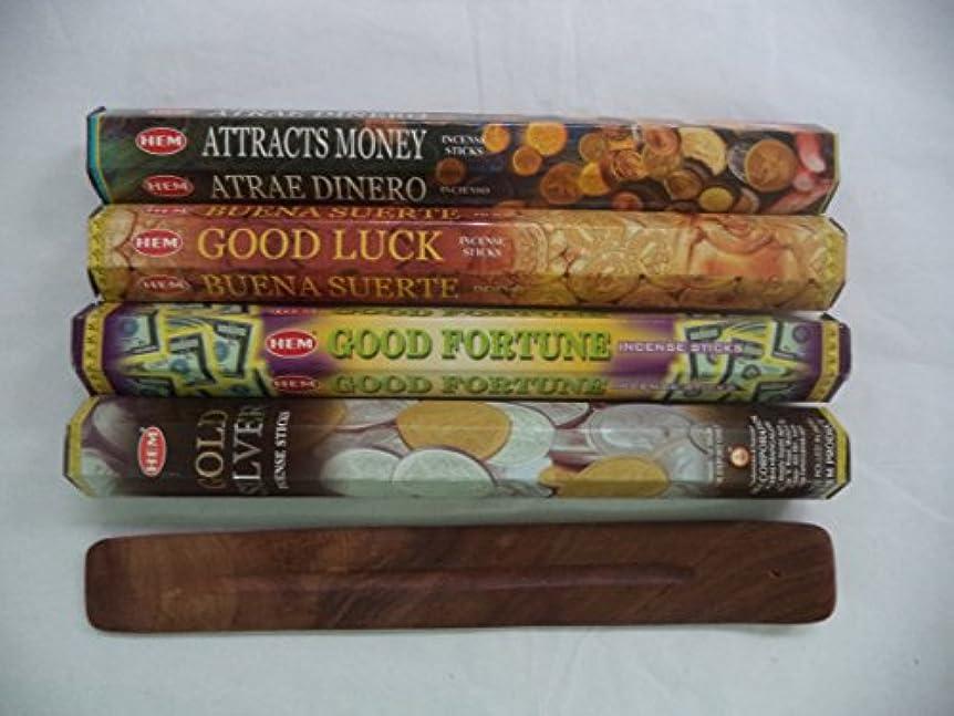 レディ中毒帽子Hemお香スティックattracts money good luck good fortuneゴールドシルバー= 80 Sticks + Burner 。