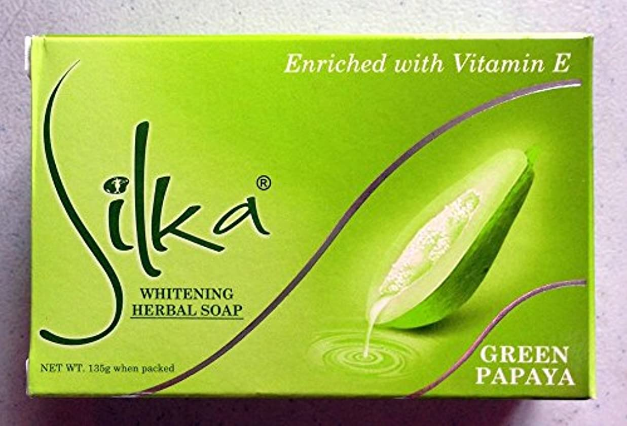 行動ガウン自然シルカ グリーン パパイヤソープ 135g Silka green papaya soap