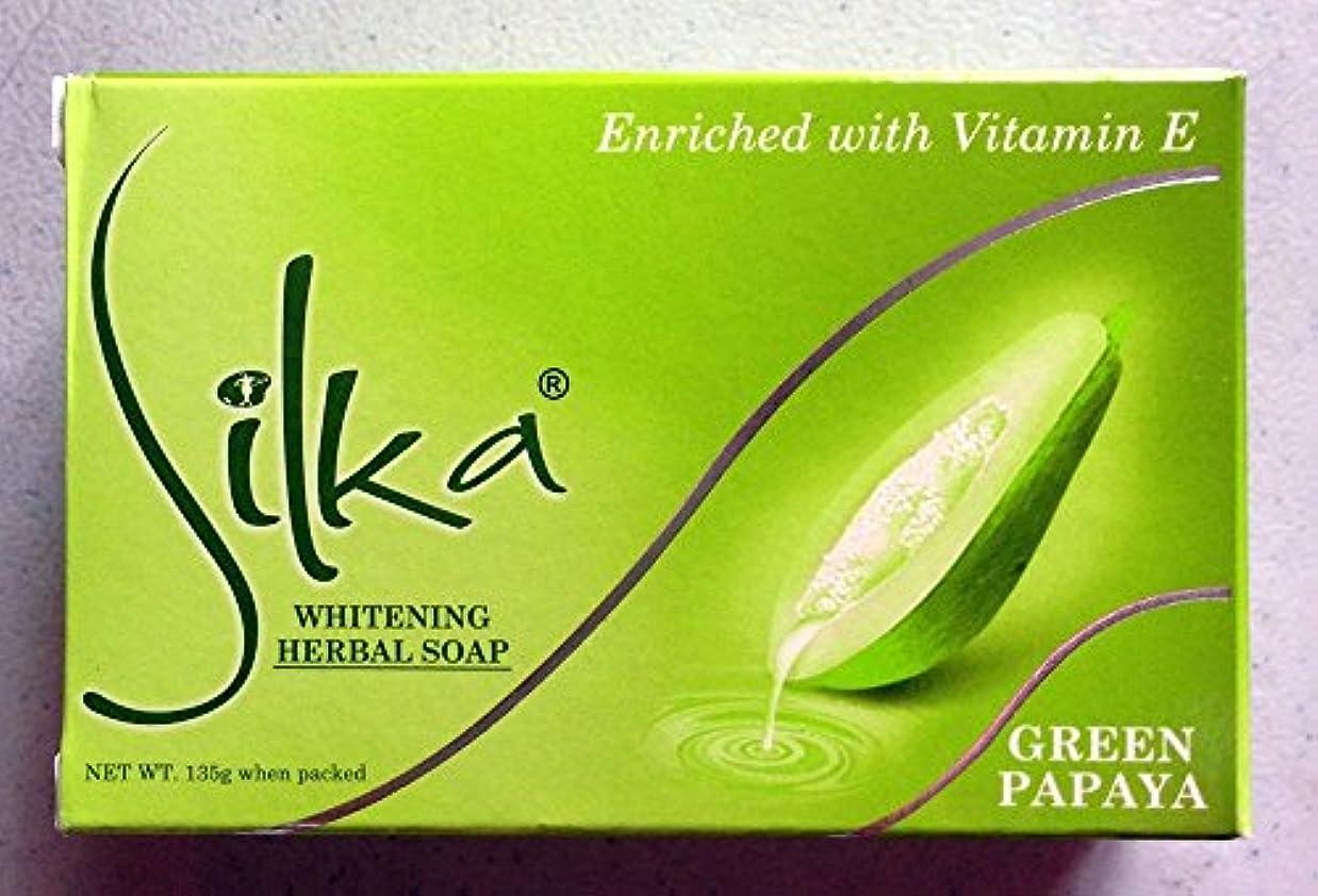 気球靴下ステップシルカ グリーン パパイヤソープ 135g Silka green papaya soap