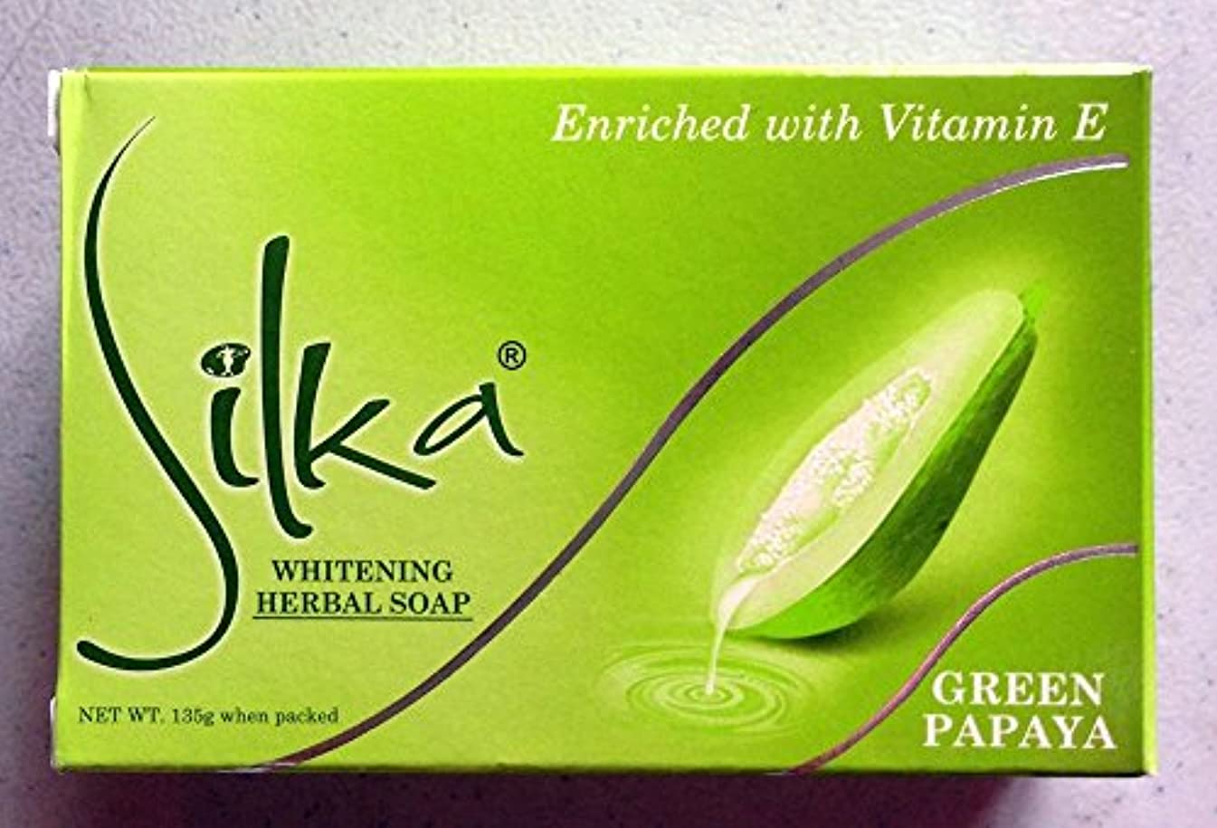 快適鎮痛剤加害者シルカ グリーン パパイヤソープ 135g Silka green papaya soap