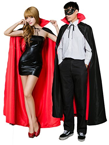Anna Mu ドラキュラ メンズ 吸血鬼 ヴァンパイア コスプレ ロング 立て襟 マント 黒 赤 男女共用 z1945