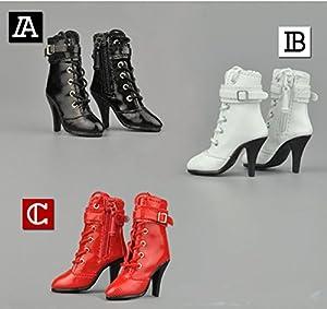 1/6 ブーツ ファスナー&靴纽 フィギュア用 女性 フットパーツなし ドール 人形 アクセサリー 全3色 (黒)