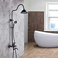 シャワーシステム、豪華なバスルームシャワーセットのためのホルダー - 3スピードブラックシャワー - バスルームセットスプレーガンシャワー
