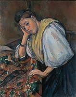セザンヌ・「Young Italian Woman at a Table」 プリキャンバス複製画・ 【ポスター仕上げ】(8号相当サイズ)