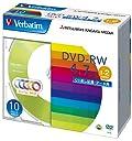 三菱ケミカルメディア Verbatim データ用DVD-RW くり返し記録 DHW47NM10V1 (5色レーベル/1-2倍速/10枚)
