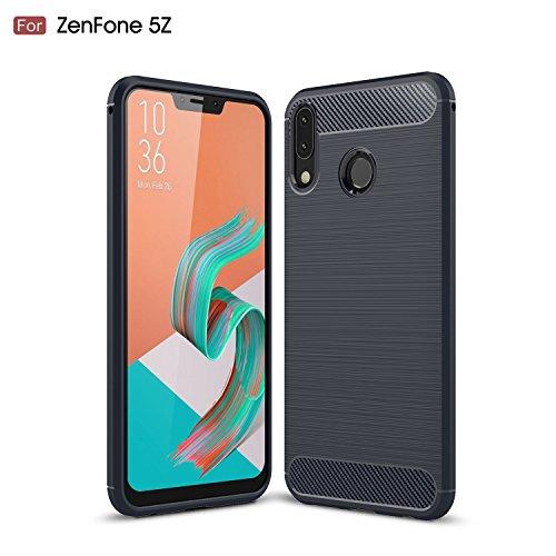 AVIDET Asus Zenfone 5 ZE620KL ケース 炭素繊維カバー 高品質TPU シリコン Zenfone5 ZE620KL ケース 保護バンパー 弾力性付き (Zenfone5Z ZS620KL ケース ブルー)