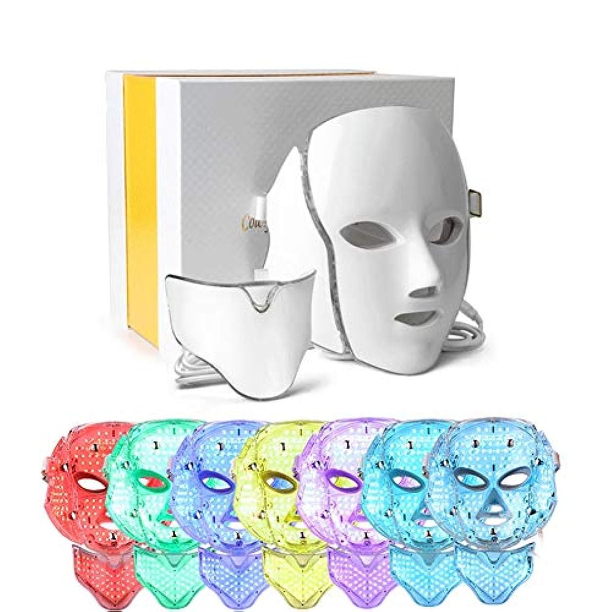 情熱乱用一元化するLEDフォトンセラピー7色光美容光療法治療マスクスキン若返りフェイスマスクPDT、フェイスネックアンチリンクルアクネ除去美容フェイシャルケア