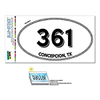 361 - コンセプシオン, TX - テキサス州 - 楕円形市外局番ステッカー
