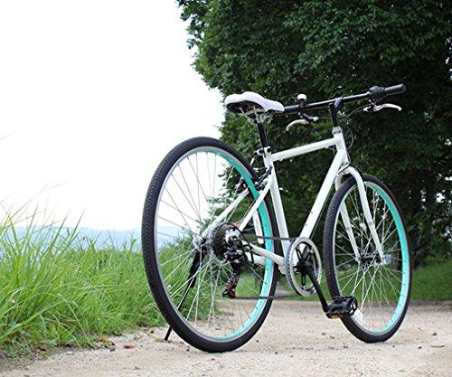 トップワン(TOP ONE) 26インチシティクロスバイク シマノ製6段ギア カギ・ライト付 ホワイト MCR266-29-WH ブラック・ホワイト