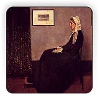 Rikki Knight WhistlerアートArrangement inブラックとグレーデザイン正方形冷蔵庫マグネット