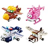 """Super Wings - Transforming Toy Figures 4 Pack  Todd, Dizzy, Paul and Bello   2"""" Scale"""
