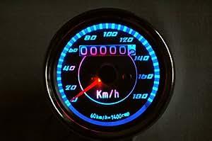 LED ミニ スピードメーター & タコメーター 【ADVANTAGE】 汎用 バイク 電気式 機械式 (スピードメーター(機械式))