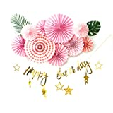 SUNBEAUTY 誕生日飾り付けセット【誕生日ガーランド ペーパーファン スターガーランド 熱帯葉っぱ】ハーフバースデー 飾り 装飾 (ピンク)