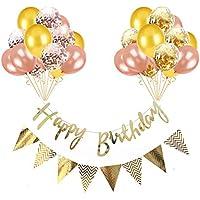 ソフィー 誕生日 飾り付け セット HAPPYBIRTHDAY 装飾 ゴールド ローズゴールド バースデー デコレーション 風船 ガーランド 32点セット