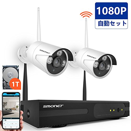 監視カメラセット ワイヤレス SMONET 200万画素 防...