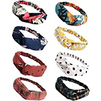 FASOTY 8 Pack Boho Headbands for Women Floral Headbands Elastic Hair Bands Criss Cross Twisted Head Wrap Hair Accessories for Women Young Ladies