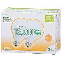 オーム電機 電球形蛍光灯 エコデンキュウ G形 E26 100形相当 電球色 2個入 [品番]06-0267 EFG25EL/20N-2P