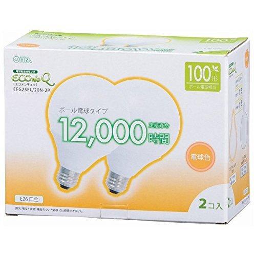 オーム 送料無料 エコデンキュウ 電球形蛍光灯 ボール球 E26 100形相当 電球色 EFG25EL/20N OHM st-0267