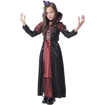 fd2418781800d Cuteshower ハロウィン 衣装 子供 ドラキュラ ヴァンパイア 吸血鬼 コスプレ キッズコスチューム 女の子 XXL