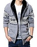 (ベクー)Bekoo メンズ ジップ ニット カーディガン パーカー フード 付き カウチン セーター (11 灰花 XL)