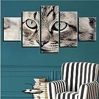 Xbwy ポスターウォールアートHdの写真家の装飾ベッドサイドの背景現代の額入り5個素敵な猫のリビングルームプリント動物絵画-20X35Cmx2,20X45Cmx2,20X55Cmx1
