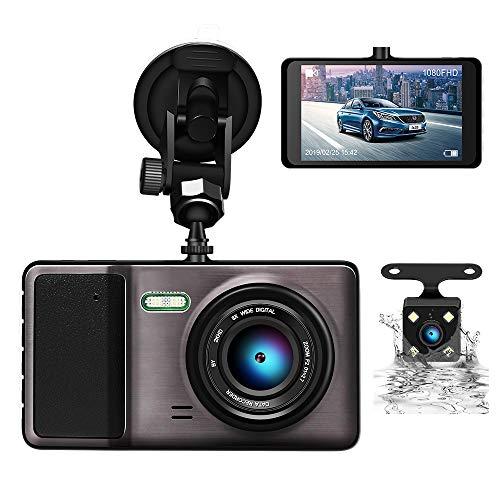 2019 最新型 ODLICNO ドライブレコーダー 前後カメラ 1080PフルHD 1200万画素 170°広視野角 4.0インチ G-センサー/レンズ デュアルドラレコ 駐車監視/動体検知/G-sensor/ループ録画/WDR機能搭載