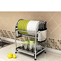 多目的収納ラック 食器ラックステンレス製のキッチンシェルフ収納棚食器棚排水ホーム用品入れボウルトレイリークラック2Tire キッチンバスルーム用 (Edition : B, Size : 40.5*28*45.2CM)
